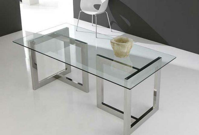 mesa vidrio acero